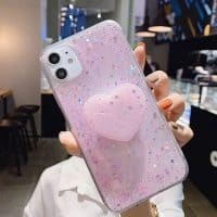 Capa iPhone Star Glitter com Suporte - Rosa