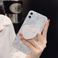 Capa iPhone Star Glitter com Suporte - Branco
