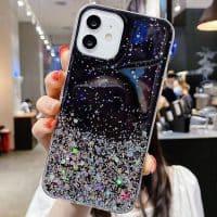 Capa iPhone 11 12 Pro Max Star Glitter _ Preto