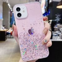 Capa iPhone 11 12 Pro Max Star Glitter _ Rosa