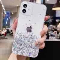 Capa iPhone 11 12 Pro Max Star Glitter _ Transparente