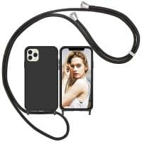 Capa iPhone 11 12 Pro Max com Cordão - Preto