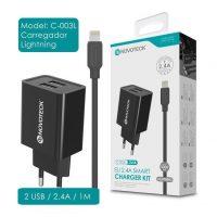 Carregador Dual USB com Cabo Lightning (C-003L NovoTeck - Preto) iPhone 5/6/7/8/SE