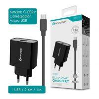 Carregador USB com Cabo Micro USB 2.4A (C-002V NovoTeck - Preto)