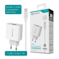 Carregador USB com Cabo Lightning (C-002l NovoTeck - Branco) iPhone 5/6/7/8/SE