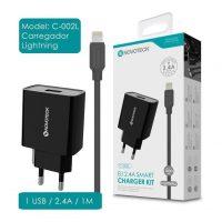 Carregador USB com Cabo Lightning (C-002l NovoTeck - Preto) iPhone 5/6/7/8/SE