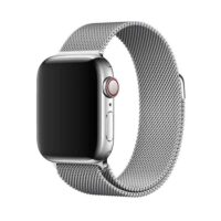 Bracelete de Relógio Milanesa para Apple Watch Series 6 | SE | 5 | 4 | 3 | 2 | 1 - 38 | 40 Mm em Prateado